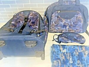 REI Wheeled Roller Bag, Under Seat Bag, Toiletry Bag, Blue Camo Set