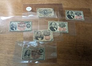 COLLECTION OF SIX US FRACTIONAL CURRENCY BANKNOTES~THIRD ISSUE 10c,FIFTH ISSUE 1