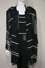 Marina Rinaldi Woman Black White Stripe Silk 3-Piece Set Tank, Shirt, Pants 2x