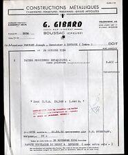 "BOUSSAC (23) CONSTRUCTION de FERMETURES METALLIQUES ""G. GIBARD"" en 1956"