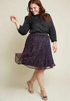 ModCloth It's the Glitz Metallic A-Line Skirt  Size XL