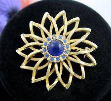 BeauJewels BLUE Rhinestone FLOWER STAR Cab BROOCH Vintage PIN Goldtone Signed