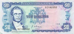 Jamaica 10 Dollars 1992 P-71d XF+