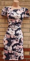 MISS LOOK PINK GREY FLORAL WHITE PEPLUM ONE SIDE BODYCON PENCIL TEA DRESS 14 L
