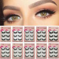 UK 3 Pairs/Set 3D Fake Eyelashes Long Thick Natural False Eye Lashes Mink Makeup