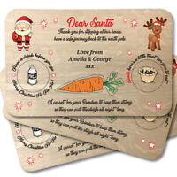 Christmas Eve Santa Treat Board - Wooden Plate Platter Mat - Father Xmas