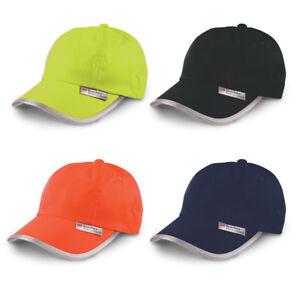 HI VIS HI VIZ HIGH VISIBILITY PRINTED BASEBALL CAP - ANY TEXT OR 1 COLOUR LOGO