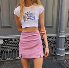 Brandy Melville high rise bubblegum pink/green plaid mini Cara skirt NWT sz XS/S
