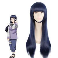 Hyuga Hinata Touma Kazusa Shione Togawa Blackish Blue Straight Long Cosplay Wig