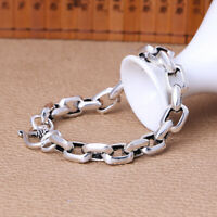 7.08INCH Solid 925 Sterling Silver Bracelet 8mm Cable Link Bracelet For Men
