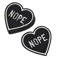 10 Pcs NOPE Heart Patches Badge Iron On Patch Applique for DIY Clothes Bag Craft
