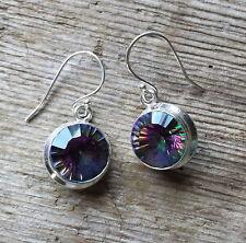 Mystic Topaz Rainbow Sterling Silver 925 Earrings Hook Fastening