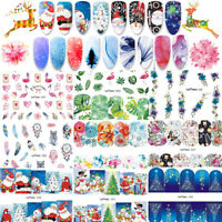 10X Christmas Nail Art Water Decals Transfer Snowflakes  Stars Gel Polish