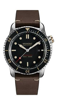 AUTHORIZED DEALER BREMONT Supermarine S501 AUTOMATIC BLACK DIAL LEATHER WATCH