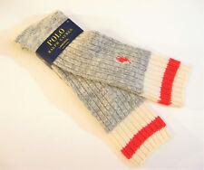 Ralph Lauren Ladies Socks Mid Calf Rib Wool Blend Polo Pony Grey Marl Red Ivory