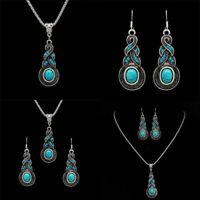 Damen Turquoise Schmuck  Halskette Ohrringe Blau Kristall Strass Hochzeitss U3X1