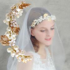 Gold Chain Wedding Crystal Charm Pearl-Flower Bridal Hairpin Headband Headpiece