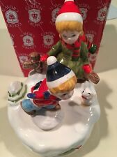 Ebeling Reuss 1984 Musical Figurine Seasons Pleasures Skating Holiday Christmas