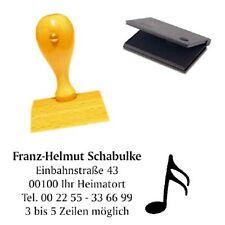Adressenstempel « NOTE » mit Kissen - Holzstempel Firmenstempel Musik Instrument