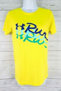 Under Armour Semi Fitted Heatgear Run Graphic Tee Small Yellow Blue Short Sleeve