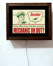 Sinclair Gas Oil Station Attendant Mechanic On Duty 50s Retro Light Lighted Sign