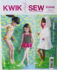 Kwik Sew 3998 Girls Cover-Up Swimsuits Bikini Pattern Sz 3-10