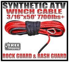 3/16' x 50' Red Synthetic Winch Cable Line Rope 7700lb With Sheath & Rash Guard