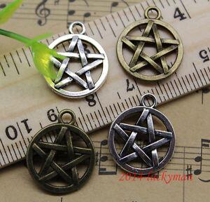 Lot 10/30/90 retro Jewelry Making Pentagram alloy charms pendant DIY 20x17mm