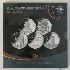 20-Euro Sammlermünzenset 2016, ADFGJ, Silber, Spiegelglanz