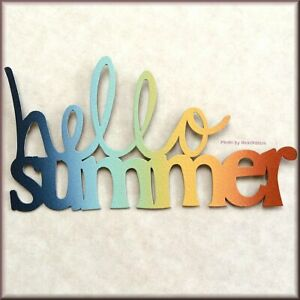 Hello Summer Sunset Metal Word Magnet by ROEDA® Made in USA Free U.S. Shipping