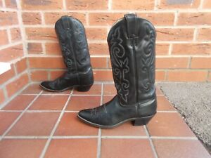 JUSTIN Black Leather Cowboy Boots * sz 7 uk * PULL ON