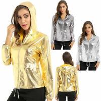 Women's Ladies Shiny Metallic Jacket Zipper Up Coat Hooded Outwear Nightclub