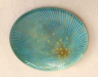 Enamel Plate Unusual Art Piece Astral Sun Burst Drops Flower MCM Gift Estate WY