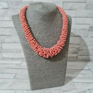 Chunky Statement Necklace Graduated Coral Pink Seed Beads Costume Jewellery