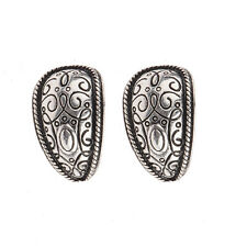 Women's Vintage Bohemian Boho Style Antique Silver Carved Flower Stud Earrings