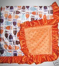 NEW Minky Dots Nursery Baby receiving Blanket orange Satin Ruffle Owl Boy Girl