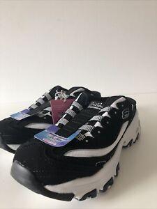 Sketchers D'Lites Air Cooled Memory Foam Black Slide On Sneakers Mules Sz 6