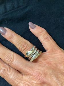 Ring 925er Silber Schlange mit Zirkonia, Ringgröße 52