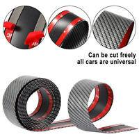 Car Door Sill Protectors Strip Trim Bumper Rubber Sticker Carbon Fiber 5cm*2.5m