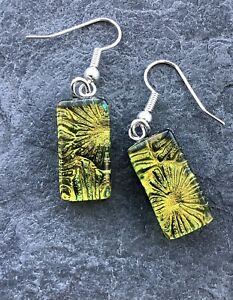 Handmade In Cornwall Dichroic Fused Glass Earrings Gold Yellow Amber Coral