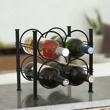 NEW USA Handcrafted Ya'an 4 Bottle Wrought Iron Wine Rack Antiqued Black Finish