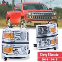 14-15 For Chevy Silverado Clear Lens Aftermarket Replacement Headlights Chrome