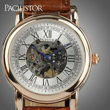 PACIFISTOR MENS MECHANICAL WRIST WATCH SKELETON STEAMPUNK SPORT BROWN LEATHER