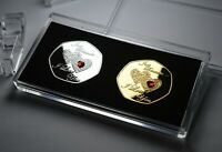 Pair of 'I Love You' Gemstone Commemoratives & 50p Coin Stand/Case. Gift/Present