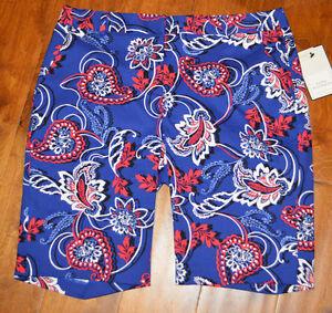 Women's Dana Buchman Blue & Red Floral Bermuda Chino Shorts Sizes 6, 8, 10