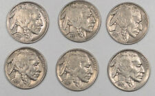 1937 BUFFALO NICKELS LOT OF 6 - HIGH GRADE EXAMPLES FULL HORNS!