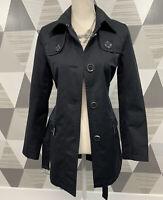 Michael Kors Women's Size S Black Button Front Trench Coat jacket #6D16
