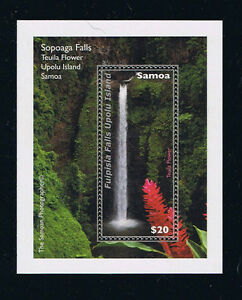 Samoa Sopoaga Falls and Teuila Flower Postage Stamp Flora Souvenir Sheet Issue