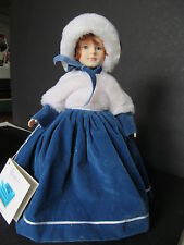 """1987 Effanbee """"Doll of the Month"""" January, Blue Dress, White Fur, Red hair, nice"""