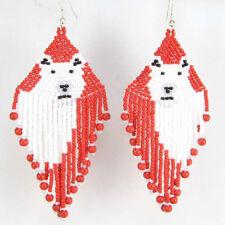 RED WHITE BLACK SEED BEADS POLAR BEAR BEADED EARRINGS E4/2
